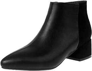 MisaKinsa Women Fashion Short Boots Block Heels Zipper Boots