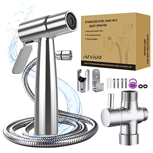 Handheld Bidet Sprayer for Toilet Bidet Attachment Baby Cloth Diaper Sprayers set Bathroom Kitchen Water Sprayer Kit Stainless Steel vegetable body cleaner for Pregnant woman elderly Pets Shower