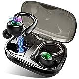Auriculares Inalambricos, Rluefiss Auriculares Inalambricos Bluetooth 5.1 con Micrófono Incorporado, IP7 Impermeable Auriculares Inalambricos Deportivos, Cascos Inalambricos con Caja de Carga Rapida