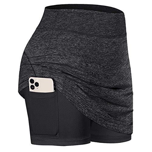 Cecobora Womens Summer Athletic Tennis Skirt Golf Inner Shorts Elastic Sports Golf Skirt with Pockets (Dark Grey, Small)