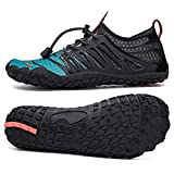 UBFEN Water Shoes Aqua Shoes Swim Shoes Mens Womens Beach Sports Quick Dry Barefoot for Boating Fishing Diving Surfing with Drainage Driving Yoga Size 12 Women / 10 Men E Dark Green