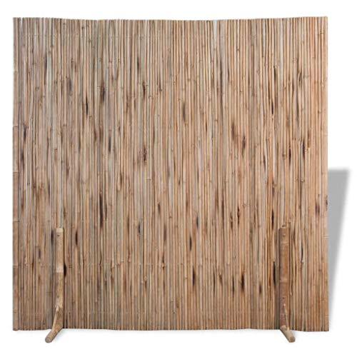 Nishore Raumteiler Zaunfeld Paravent Gartenzaun aus Bambus 180 x 180 cm Raumtrenner als Dekoration Braun