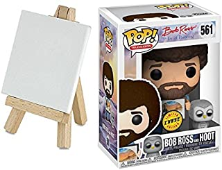 Legends Bob Ross Chase Figure & Paint Easel with Mini Canvas Pop Art Character TV Hoot the Owl #561 Create your own painting! Set