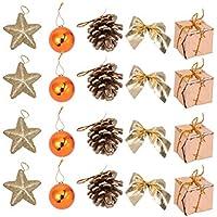NUOBESTY - Lote de 24 Adornos para árbol de Navidad, piñas, Colgantes, Color marrón, Campana, Estrella, Lazo, Caja de Regalo, Modelo de decoración de árbol de Navidad, Suministros