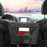 Car Net Pocket Handbag Holder,Seat Back Net Bag Organizers and Storage for Car,Driver Storage Netting Pouch Car Purse Documents Holder Between Seats,Car Accessories Interior for Women Kids(Black)