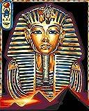Sheean Pintur por Números,(20x26in) 50x65cm DIY Pintar por Numeros para Adultos Niños,Pintura al óleo Kit con Pinceles y Pinturas,Lienzo de Pintura Decoración del Hogar Regalo Faraón Egipcio Framed