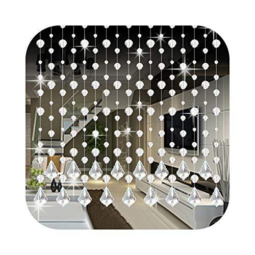 Minipear Kristallglas-Perlenvorhang, luxuriös, 1 m lang, für Schlafzimmer, Café, Tür, Fenster, Anhänger, Perlen, Vorhänge, transparent, Glasornament, #Nu-E-