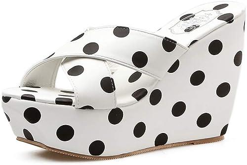YAN Compensées Chaussures Nouveau Mode d'été Les Les dames Talons Hauts Peep Toe Pantoufles Polka Dot Chaussures Party Robe de soirée Sheos,blanc,35