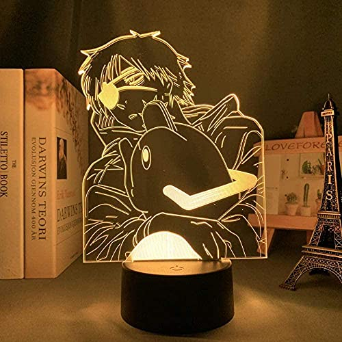 Anime Chainsaw Man Toy Gift 3D Night Light LED Decoración Luz 16 Cambio de color Cumpleaños Navidad Carga USB Control remoto táctil
