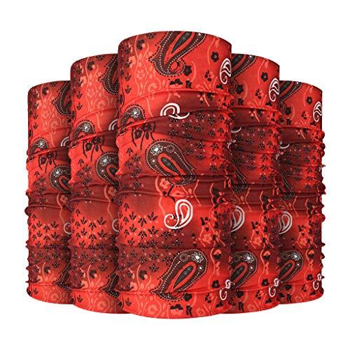 MOTOCO 5Pcs Multifunktionstuch Herren Schnelltrocknend Atmungsaktiv Kopftuch Damen Super Elastisch Sonnenschutz Halstuch für Motorrad Laufen Wandern(25X50CM.R)