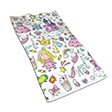 Kitchen Dish Towels Wash Cloth Car Household Pet Bath Towel,Bundle of Girls Kids Composition Fairytale Fantasy Characters Castles Accessories,27.5 Inch X15.7Inch