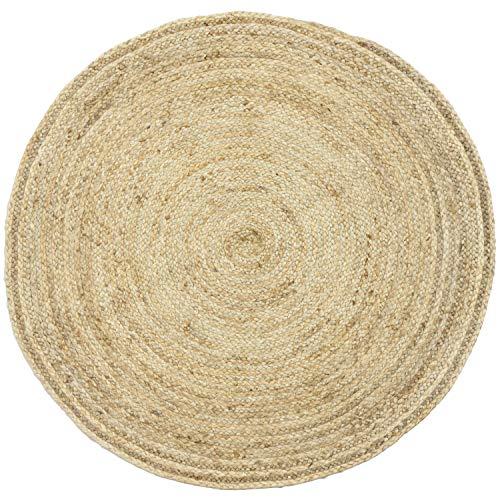 Handgewebter runder Jute Teppich 120 cm Teppich Abril Natur | Outdoor Teppiche Rund geflochten für Garten oder Balkon | Indoor im Wohnzimmer Kinderzimmer | Mediterrane Deko für Ihre Wohnung