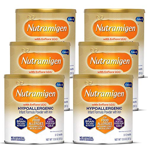 Enfamil Nutramigen Hypoallergenic Colic Baby Formula Lactose free milk Powder, 12.6 Oz (Pack Of 6) - Omega 3 Dha, Lgg Probiotics, Iron, Immune Support