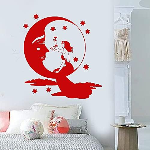 Jsnzff Creativo Luna Estrellas Mujer Arte de la Pared Calcomanía Decoración Pegatinas de Moda Decoración de la habitación de los niños Decoración del hogar 57x62cm