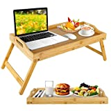 Bed Tray for Eating with Folding Legs, Large Bamboo Breakfast Serving Trays with Handles for Food, Portable Foldable Laptop Tray Table for Desk Sofa Couch Picnic Kitchen Snack Working, 19.7 x 11.8
