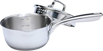 Momscook Stainless Steel Covered Saucepan, Strainer Lid, Two Side Spouts for Easy Pour,