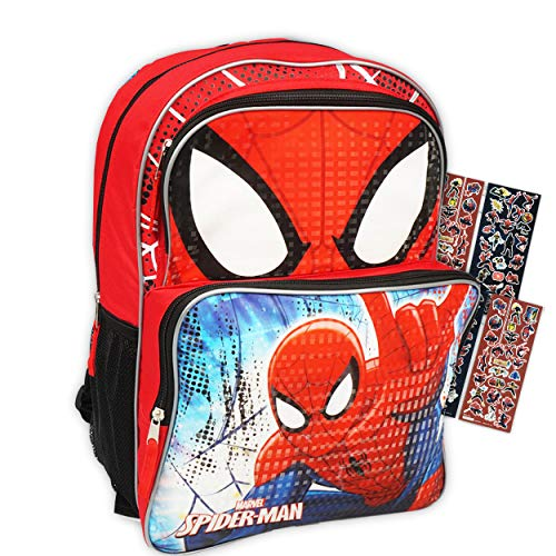 Marvel Spiderman Backpack for Boys Kids Bundle ~ Delxue 16 Inch Spider-Man Backpack with Bonus Spiderman Stickers (Spider-Man School Supplies)