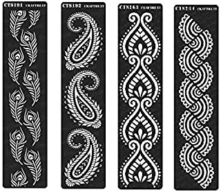 CrafTreat Stencil - Peacock Feathers Border, Paisley Border, Border VII & Border VIII (4 pcs)   Reusable Painting Template for Home Decor, DIY Albums and Printing on Paper, Wall, Tile, Fabric 3