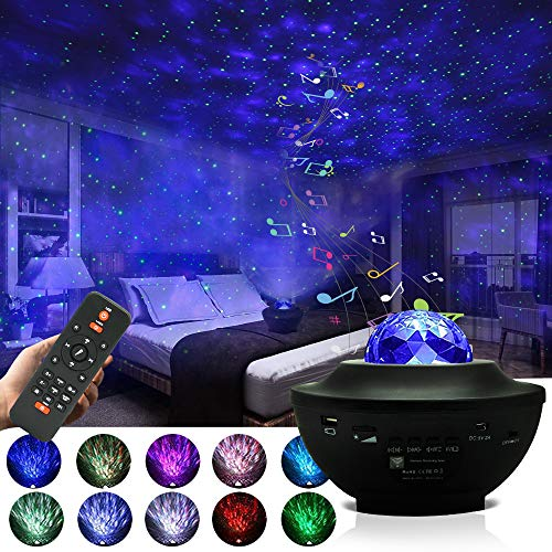 Starry Night Light Projector for Bedroom,Sky Galaxy Projector Ocean Wave Projector Light with Remote Control & Bluetooth Music Speaker, As Gifts for Birthday Party Bedroom…