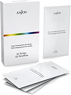 Anjou 32 Strips Blackhead Removing Pore Strips, New Upgraded 2020Version Formula, Deep Cleansing Peel off Strip for Removing Blackhead On Noses, Last 4-6 Months