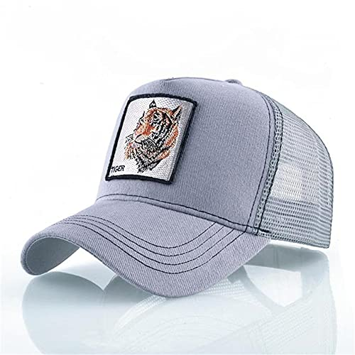 Moda Animales Gorras de béisbol Hombres Mujeres Snapback Hip Hop Sombrero Verano Malla Transpirable Sun Gorras Unisex Streetwear-Gray Tiger