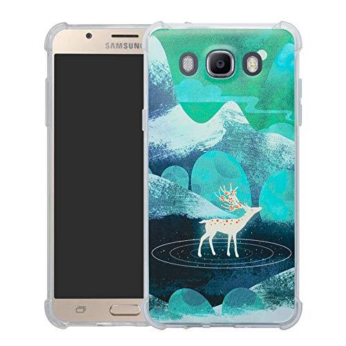 HHDY Samsung Galaxy J7 2016 Funda, Pintura Ultrafina Suave TPU Silicona Diseño de Bumper Cojín de Aire Protección Cover para Samsung Galaxy J7 J710 2016,Green Sika Deer