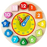 Wooden Shape Color Sorting Clock- Teaching Time Number Blocks Clock Shape Sorting Puzzle Montessori Early Learning Educational Toy Gift for 1 2 3 Year Old Toddler Baby Kids