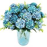 XONOR 3 Paquets Artificielle Soie Hortensia Faux Bouquet De Fleurs De Demoiselle d'honneur Mariée pour la décoration de Maison de Mariage, 10 Têtes, 36cm (Bleu)