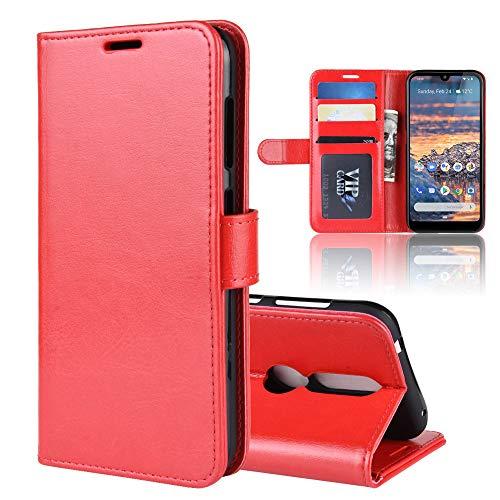 """XMTON Nokia 4.2 5.71"""" Custodia,Premio PU Custodia in Pelle con Wallet,Magnete,Slot per Schede Case Cover per Nokia 4.2 Smartphone (Rosso)"""