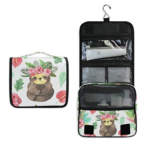 Mr.XZY Bolsa de maquillaje con estampado de perezoso para mujeres, niñas, animales, flores, sonrisa, multifunción, portátil, con cremallera, bolsa de aseo 2011654-1