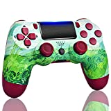 TOPAD Wireless PS4/Pa4 Controller Compatible for Playstation,Green Game Control Remote with Double Shock, Built-in 1200mAh Battery, OS4 Manette for Kids/Man/Girls (New Cool Red Berry Blue Mando)