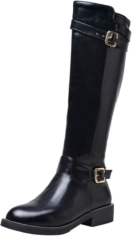 RizaBina Equestrian Boots Knee High Booties Chunky Heels Booties