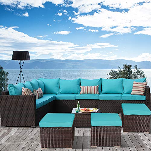 Leaptime Outdoor Furniture Patio Conversation Set Garden Seating Outside Couch Brown PE Wicker 9-Piece Turquoise