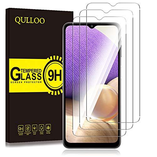 QULLOO Panzerglas für Samsung Galaxy A32 5G, [3 Stück] 9H Hartglas Schutzfolie HD Displayschutzfolie Anti-Kratzen Panzerglasfolie Handy Glas Folie für Samsung Galaxy A32 5G