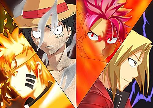 JUHAO Diy 5D Pintura De Diamantes, Artesanías De Diamantes Y Diamantes De Imitaciónpóster Anime One Piece Luffy Póster-Dibujar Por Número, Apto Para Principiantes.