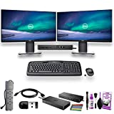 Home Office - Dual Dell Monitor Bundle - 2 Dell P2219H 22' Monitors with Dell WD19 Dock - Logitech Keyboard and Mouse - Surge Protector - HDMI Wire, USB Key, and More