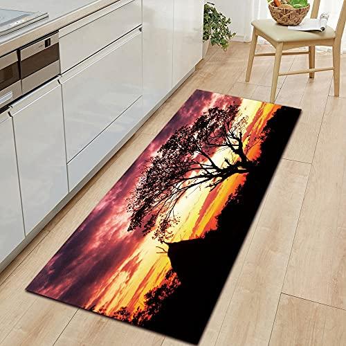 HLXX Landscape Warm Sunlight Kitchen Mat Entrance Door Mat Bedroom Floor Decoration Living Room Bathroom Carpet A18 60x180cm