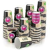 100 Vasos Desechables de Café para Llevar - Vasos Carton 240 ml para Servir el Café, el Té, Bebidas Calientes y Frías
