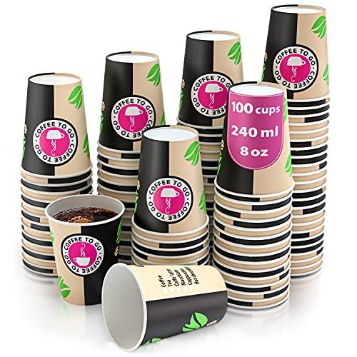 100 Bicchieri Carta per Prendere Il caffè - Bicchieri Caffe - Tazza di 240 ml Bicchieri Monouso per Prendere Il caffè per Il Prendere Il caffè, Il tè, Le Bevande Calde e Fredde