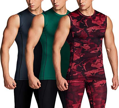 TSLA Camiseta sin mangas para hombre, de compresión en seco, corte ajustado Mua25 - Juego de 3 muñecos de esquí, color rojo, gris y verde L
