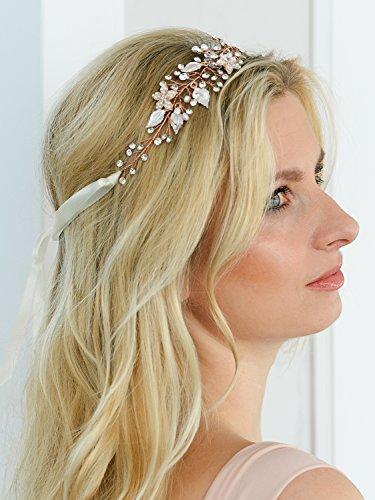 Mariell Rose Gold Freshwater Pearl and Crystal Bridal Hair Vine Ribbon Headband