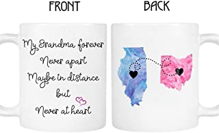 Grandma Long Distance State Mug, Personalize Name and States, Countries and Provinces, 11oz or 15 oz