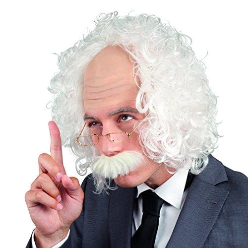 NET TOYS Verrückter Professor Einstein Perücke mit Brille und Bart weiß Opa Perücke mit Halbglatze Faschingsperücke Wissenschaftler