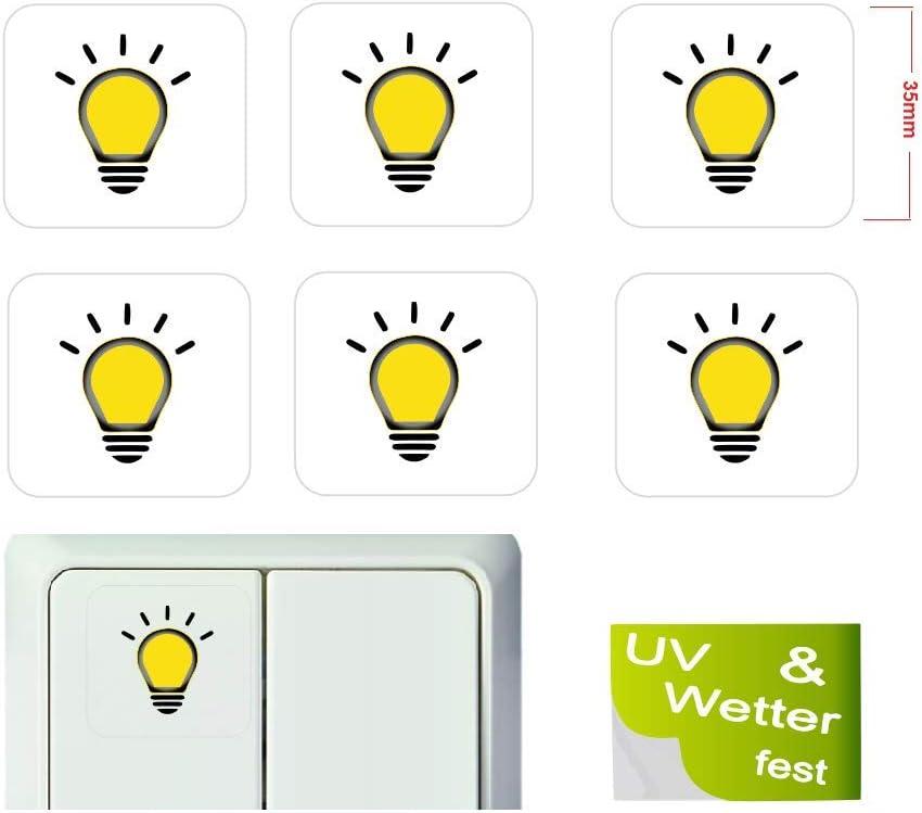 Generisch 6 Stück Lichtschalter Aufkleber Licht Schalteraufkleber Schalter Sticker R15 1 35x35mm Auto