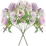 YYHMKB 2 Piezas de Flores Artificiales, hortensias de Seda de peonía Falsa, decoración de Ramo de Flores, decoración de arreglos Florales de plástico Realista, púrpura Claro