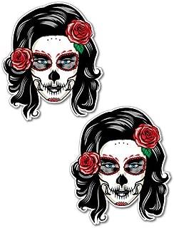 2 x Day Of The Dead Girl Sticker Tattoo Art Sailor