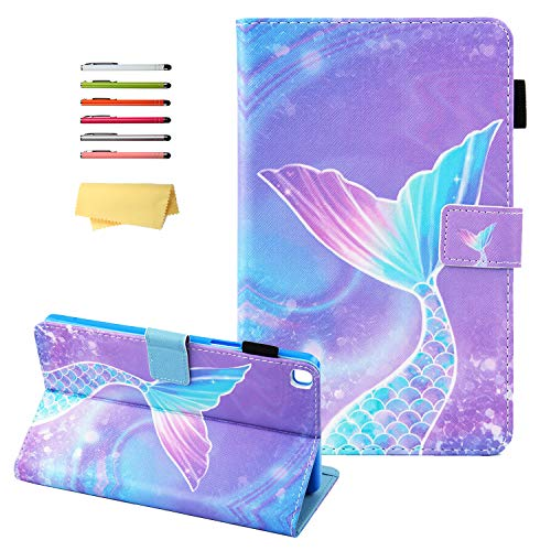 UUcovers Case for Samsung Galaxy Tab A 8.0 inch 2019 (SM-T290/SM-T295/T297) with Card Slots Pencil Holder Pocket, PU Leather Cover Stand Magnetic Closure Wallet Folio Shell, Pink Mermaid Tail Scale