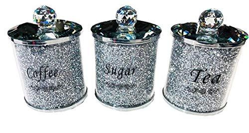 Yililay Tarros, Diamante machacado té café azúcar Botes frascos de Almacenamiento de Plata Pasamanería de Cristal Lleno