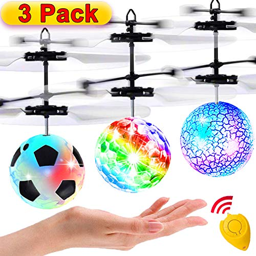 3 Pack Flying Ball Kids Toys RC Flying Toys Hand Control Helicopter Infrared Induction RC Flying Light Up Toys Indoor Outdoor Games Remote Control Drone Rechargeable