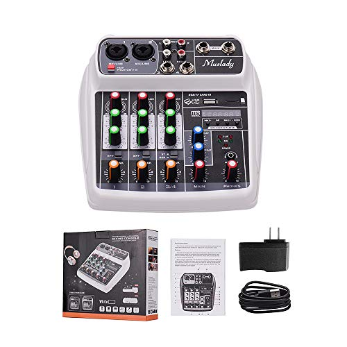 Lowest Prices! Muslady AI-4 Compact Sound Card Mixing Console Digital Audio Mixer 4-Channel BT MP3 U...